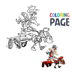 people ride wagon cartoon coloring page vector image