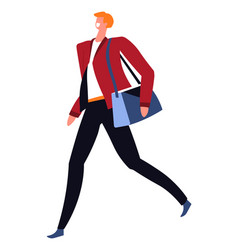 positive businessman wearing blazer going with bag vector image