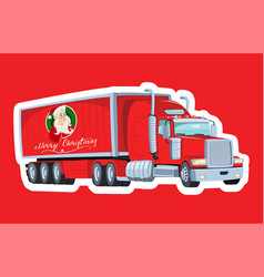 red truck with santa claus board christmas vector image