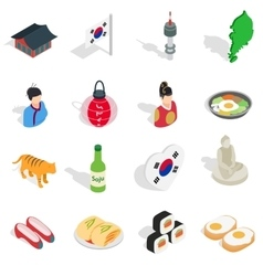 Republic Of Korea icons set isometric 3d ctyle vector image