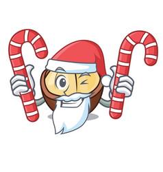 Santa with candy macadamia mascot cartoon style vector