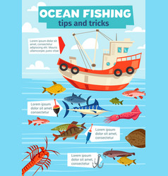 Sea fishery boat and fisherman fish catch vector