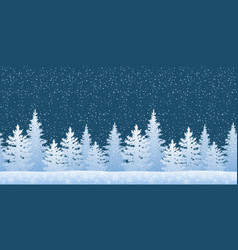seamless landscape with christmas trees vector image