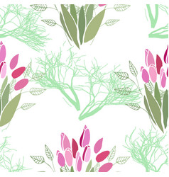 seamless pattern with summer flowers and leaves on vector image