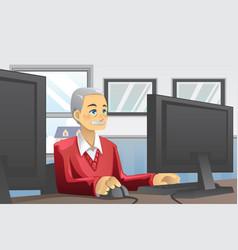 Senior man using computer vector