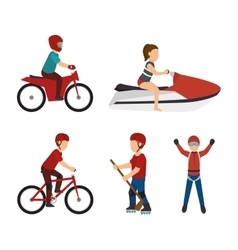 Set extreme sports design isolated vector