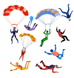 set of parachutists involved in dangerous sports vector image