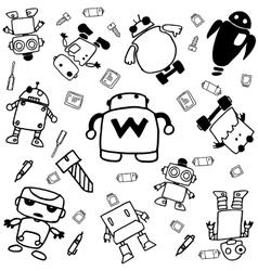 Set of robot doodle art vector