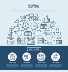 shopping concept in half circle vector image