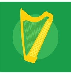 Silhouette of Celtic Harp with ornament on green vector