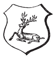 Stag lodged have a stag sitting on the ground vector