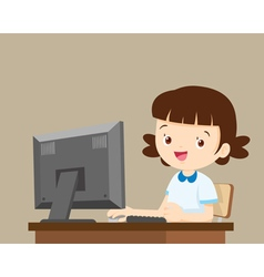 student girl working with computer vector image