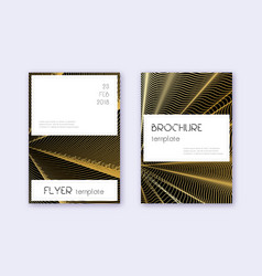 Stylish cover design template set gold abstract l vector