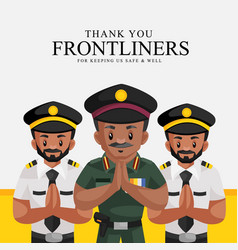 Thank you frontliners for keeping us safe and well vector