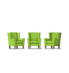 Three green armchairs isolated on white vector