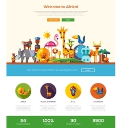 Traveling to Africa website header banner with vector image