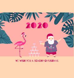 tropical christmas greeting card santa flamingo vector image