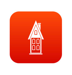 Two storey house with attic icon digital red vector