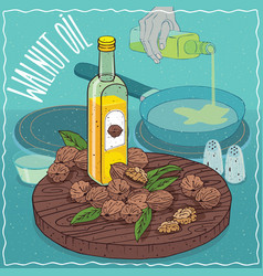 Walnut oil used for frying food vector
