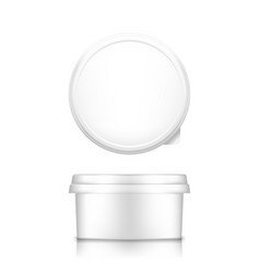 White cheese butter or margarine round container vector