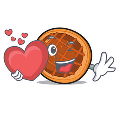 With heart baket pie mascot cartoon vector