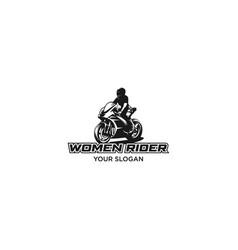 woman rider motosport silhouette logo vector image