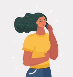 woman talk smartphone vector image