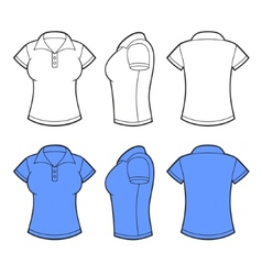 Women Polo Shirt Template Front back and side vector