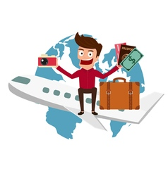 World Travel Man travel around the world vector