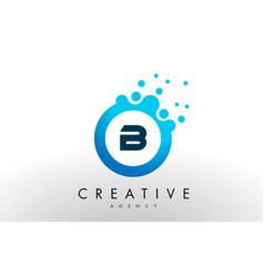 b letter logo blue dots bubble design vector image