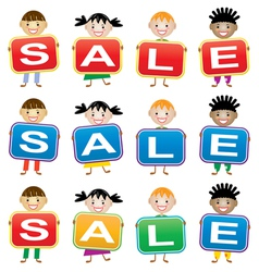 children holding cards with letters vector image vector image