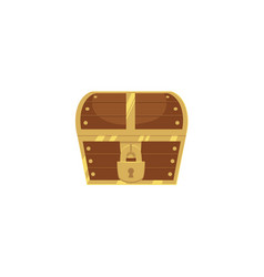 closed and locked wooden pirate treasure chest vector image