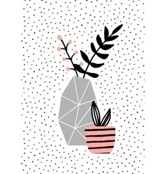 Concrete Vase and Pink Pot vector image