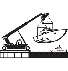 crane launching yacht in water vector image