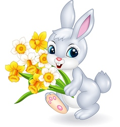 Cute bunny holding beautiful flower vector image vector image