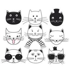 cute cat heads vector image