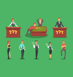people in the casino gambling and casino night vector image