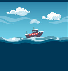 sea steam boat on the waves vector image