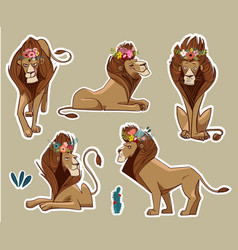 set with cute lions vector image vector image