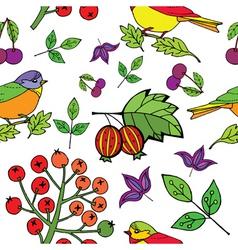 bird berries print vector image vector image