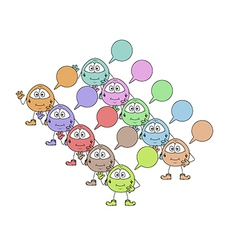 color cute creatures with speak bubble vector image