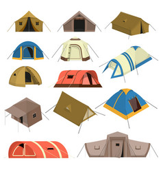 colorful tourist tents set vector image vector image