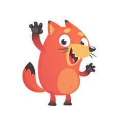 cute funny fox mascot waving hand vector image