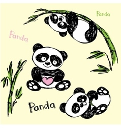 Cute panda in different poses hand drawing vector