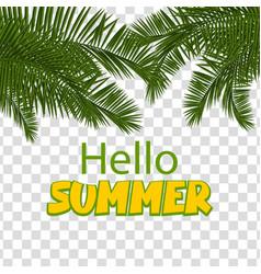 hello summer green palm leaf transparent vector image
