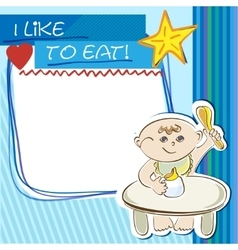 Postcard small child eats at the table vector image