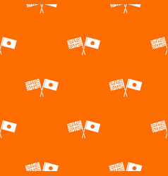 uk and japan flags crossed pattern seamless vector image vector image