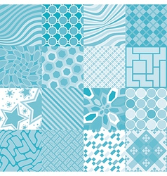 16 patterns of square tiles vector image vector image