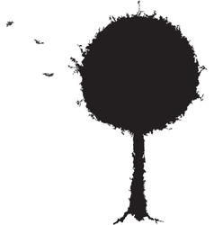 Black tree grunge silhouette vector image