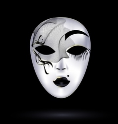 black-white mask with veil vector image vector image